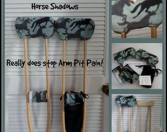 Fleece Horse Shadows Crutch Pads, Equestrian Crutch Phone Tote, Toe Bootie Cast Sock
