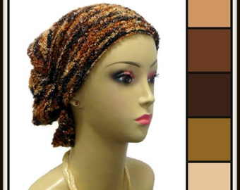 Hair Snood Earth Tone Sweater Knit Turban, Volumizer Chemo Headwear, Cancer Patient Hat XL