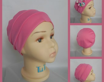 Peony Pink Satin Jersey Turban, Chemo Headwear, Cancer Patient Hair Cover,  Alopecia