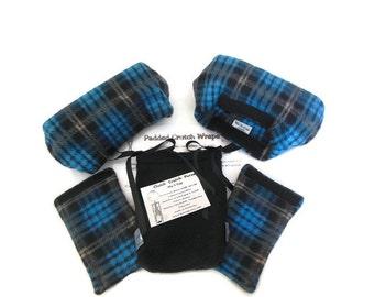 Plaid Fleece Padded Crutch Wraps & Hand Grip Set | Bounce Back Padding Crutch Cover | Crutch Tote Bag | Crutch Tote | Toe Bootie Cast Sock