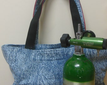 B M9 & C Oxygen Tank Tote, Stone Washed Denim  Multipurpose Travel Bag Beach Picnic Bag