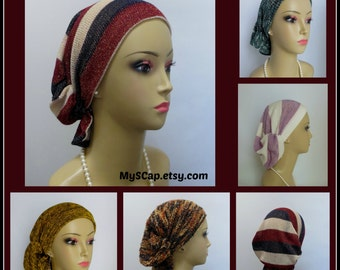 Ex Large Sweater Knit Hair Snoods Volumizer Chemo Headwear, Cancer Patient Hat, Tichel