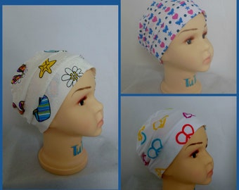 Child Pillbox 3-Seam Cotton Jersey Knit Turban Cap , Girl Chemo Headwear, Small Cancer Patient Hat, Alopecia  Beach Cap  Fits 18' to 20""