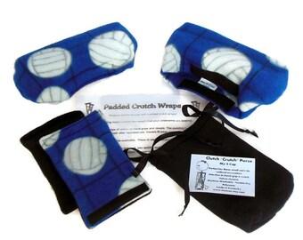 Fleece Crutch Pads Blue Volleyball, Kids Crutch Cover, Crutch Phone Bag, Toe Bootie