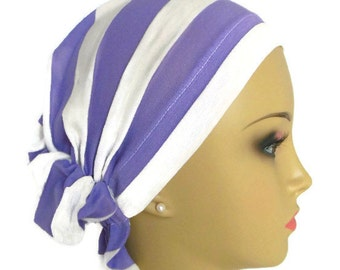 Hair Snood Turban Lavender & White Stripe Volumizer Chemo Headwear, Cancer Patient Hat, Hair Cover, Tichel Head Wrap, Beach Head Wear  XL