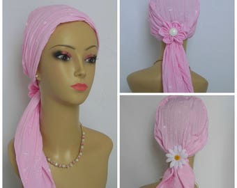 Scarf Turbans White Embossed Flower Crinkled Pink, Volumizer Chemo Headwear, Cancer Hat