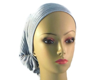Hair Snood Blue Gray With Black Lines Turban, Volumizer Chemo Headwear, , Tichel Med- XL
