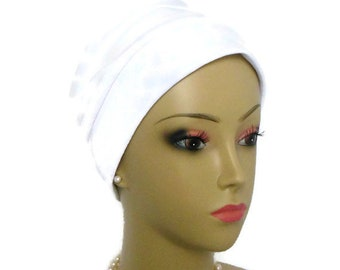 White Double Knit Satin 3-seam Turban Cap  Chemo Headwear, Cancer Patient Hair Covering, Tichel Mitpachat Cap, Alopecia hat, Satin Head Wear