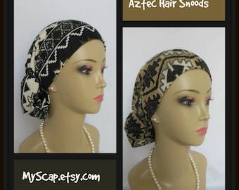 Hair Snood  Aztec Jersey Turban,  Volumizer Chemo Headwear, Alopeica Hair Cover, Tichel Mitpachat  Head Wrap, Cancer Patient Cap Reg-XL
