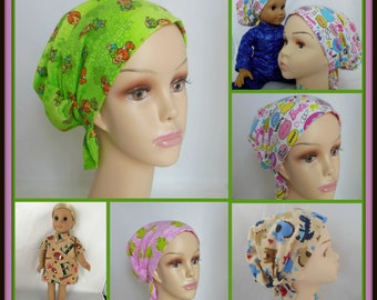 Child Flannel Hair Snood Turban  Volumizer Chemo Headwear,  Cancer Patient Hat Sleep Cap