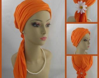 "Scarf Turban Tango Orange - Soft Rayon Jersey Volumizer Chemo Headwear, Tichel 16"", Ties Alopecia Head Wear, Cancer patient Hat, Beach Scarf"