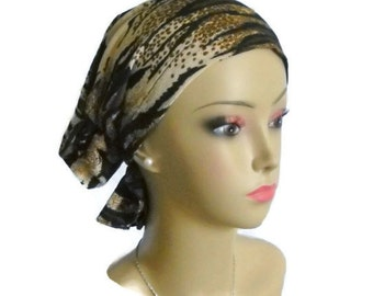 Hair Snood Turban  Tiger Stripes On Tan Gold Highlights, Chemo Headwear Tichel Mitpachat