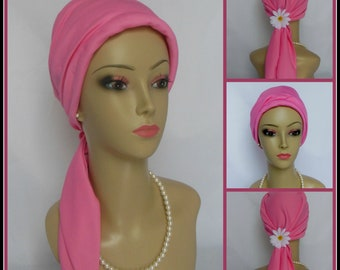 Pink Satin Scarf Turban, Jersey Volumizer Chemo Headwear, Cancer Patient Hat. Alopecia