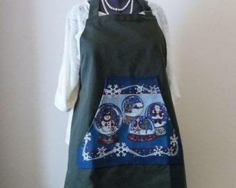 Christmas Butcher Style Apron Snow Globe, Large  Holiday Apron, Full Cafe Apron, Xmas Gift