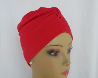 Front Knotted Turban Red  Jersey Chemo Headwear, Alopecia Hair Cover, Tichel Mitpachat Head Wrap, Yoga Cap, Beach Cap, Cancer Gift Med-Lg