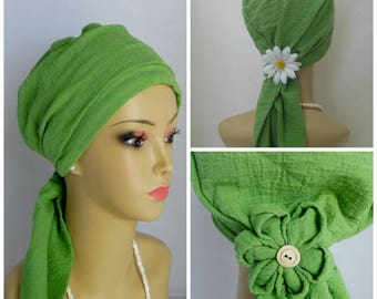 Scarf Turban Sea Green Gauze Volumizer Headwear, Cancer Patient Hat, Tichel Alopecia Scarf