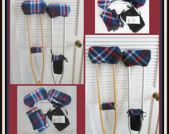 Red White Blue Plaid Fleece Padded Crutch Wraps, Toe Bootie Cast Sock Toe Warmer