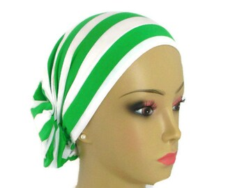 Hair Snood Spring Green White Stripe Turban, Child Adult Chemo Headwear, Patient Hat, Tichel Mitpachat Hair Covering, Beach Head Wear Sm_med
