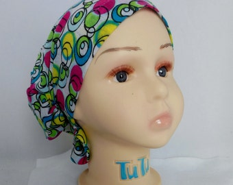 Hair Snood Colorful Jersey Turban, Teen  Volumizer Chemo Headwear, Cancer Patient Hat