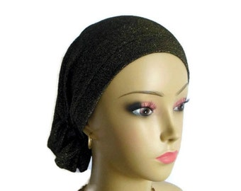 Snood Jersey Turban, Metallic Gold Black Chemo Headwear, Jersey Knit Cancer Patient Hat