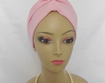 Sleep Turban Front Knotted Light Pink Jersey Chemo Headwear, Alopecia Head Wear,Yoga Cap