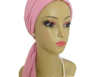 Scarf Turban:  Rose Quartz  Jersey Chemo Headwear, Cancer Patient Hat, Alopecia,  Tichel