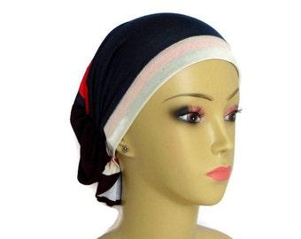 Hair Snood Navy Orange Brown Ivory Jersey Turban, Cancer Patient Volumizer Chemo Headwear, Hair Cover Tichel, Alopecia Head Wear Reg Large