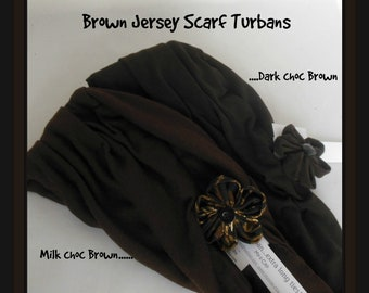 Brown Jersey Scarf Turban Chemo Headwear, Cancer Patient Hat, Beach Hair Covering, Tichel