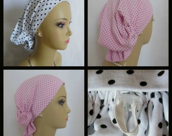 Dotted Hair Snood Turbans, Volumizer Chemo Headwear, Alopecia Hair Cover, Tichel Mitpachat