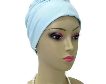 Light Aqua Blue Front Knotted Jersey Turban, Chemo Sleep Headwear, Cancer Patient Hat, Yoga Hair Covering, Tichel Head Wrap,Small- Medium -