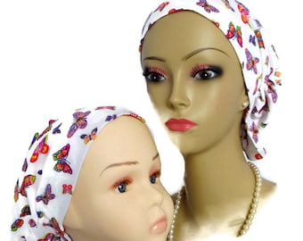 Butterfly Hair Snood Turban Chemo Headwear, Jersey Cancer Patient Hat, Tichel  Volumizer
