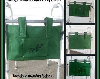 Monogrammed Green Walker Tote Bags, Lined Walker Bag, Bed Rail Caddy,  Hip Surgery Gift