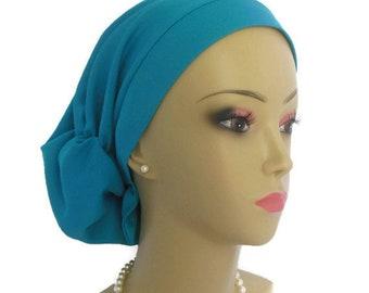 Hair Snood Satin Jersey Caribbean Blue, Volumizer Chemo Headwear, Cancer Patient Hat