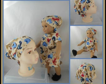 "Girly Toddler Hair Snood Child, 18"" Doll Flannel Hospital Gown,Cap, Slippers, Alopecia Chemo Headwear, Cancer Patient Hat, Girl Hair Cover"