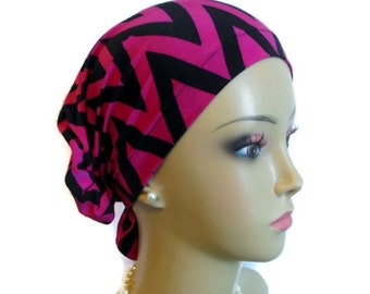 Hair Snood Chevron Jersey Turban | Jersey Knit Cancer Patient Hat | Hair Covering | Tichel & Mitpachat Head Wrap | Volumizer Chemo Headwear