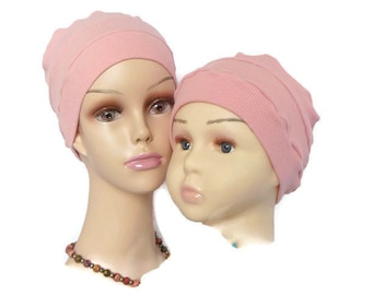 Child 3 Seam Peach Pink Ribbed Jersey Turban, Toddler Chemo Headwear, Girl Cancer Cap