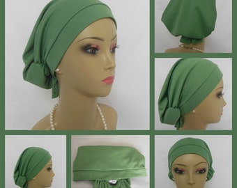 Hair Snood Satin Jersey Turban Sea Green Chemo  Headwear, Cancer Patient Hat Gift,Alopecia