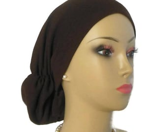 Brown Hair Snood Jersey, Volumizing Chemo Headwear, Cancer Patient Hair Covering, Tichel  Cap, Alopecia Head Wea, Beach Cap  Med- Ex Large