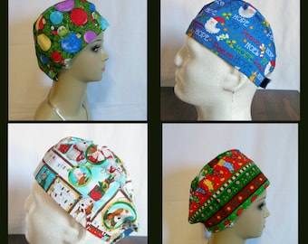 Christmas Sweatband Scrub Caps, Pediatrics RN Surgical Hat, Chemo Headwear, Nurse Graduation Gift,
