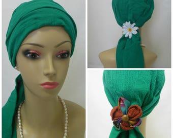 Green Blue Gauze Scarf Turban Volumizer Chemo Headwear Cancer Patient Hat Hair CoverTichel