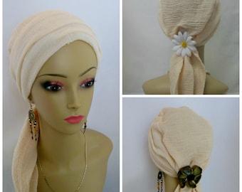 Ivory Gauze Scarf Turbans Chemo Volumizer Headwear, Cancer Patient Hat Hair Cover, Tichel