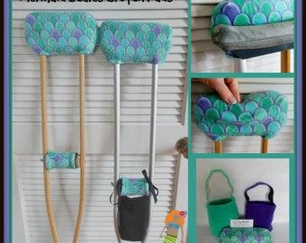 Mermaid Scales Fleece Padded Crutch Pads, Girl Padded Crutch Cover,Crutch Phone Tote Bag
