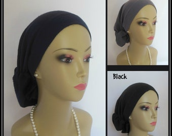 Gauze Hair Snood Turban Navy Black, Gray, Chemo Headwear, Cancer Patient Hat  Lg -XL