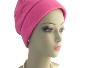 3seam Purple Pink Fleece Caps, Winter Chemo Headwear, Cancer Patient Hair Covering