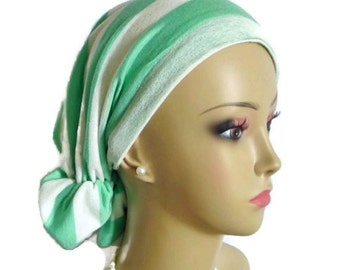 Hair Snood Sea Foam Green Rice Paper Stripe Turban, Volumizer Chemo Headwear, Cancer Patient Hat, Tichel Mitpachat Hair Cover,Beach Cap