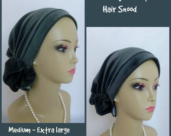 Dark Gray Stretch Velour Hair Snood  Knit Cancer Patient Hat, Hair Covering Extra Length