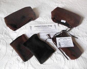 Brown Fleece Crutch Pads, Bounce Back Male Crutch Pad Cover, Crutch Phone Tote, Cast Sock