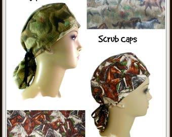 Ponytail Horse Scrub Cap, Equestrian Chemo Patient cap, Alopecia Cap, Cancer Gift