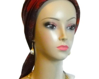 Maroon Jersey Scarf Turban Chemo Headwear,Cancer Patient Hat, Alopecia Hair Cover, Tichel
