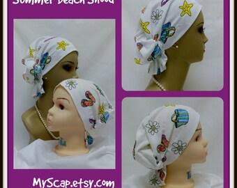 Hair Snood Summer Beach Jersey Turban, Volumizer Chemo Headwear, Cancer Patient Hair Cover, Tichel Mitpachat Head Wrap, Beach Cap Sm- Large